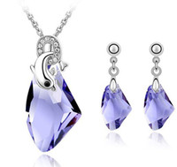 Wholesale Earrings For Designers - Austrian Crystal Costume Jewellery Bridal Accessories Set Necklace Drop Earrings For Women Designer Jewelry Sets 4095