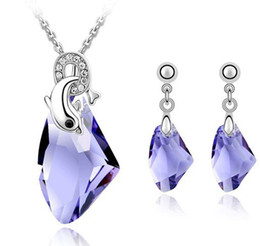 Wholesale Blue Bridal Jewellery Sets - Austrian Crystal Costume Jewellery Bridal Accessories Set Necklace Drop Earrings For Women Designer Jewelry Sets 4095