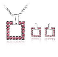 Wholesale Bridal Necklaces Light Purple - Free shipping Bridal Wedding Jewelry Sets Necklaces Earrings Make With Swarovski Elements 6111