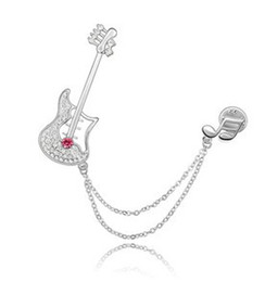 Wholesale Guitar Korean - Korean Fashion Brooch Pins Costume Jewelry Ms. Crystal Brooches -Guitar make with Swarovski Elements Free shipping (4-Colors) 3330