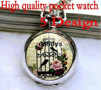 Wholesale Vintage Bird Cage Watch Necklace - FreeShipping High quality Vintage style Small Size bird cage 5 Design Quartz Pocket & Fob Watches,Pendant Necklace