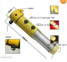 Ingrosso trasporto libero martello di sicurezza auto martello salvavita strumento di auto martello di sicurezza lampada di emergenza torcia 4 in 1 multifunzione