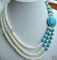 Wholesale Necklace Rows White Pearl - Beautiful 3 Row White pearl necklace Turquoise Silver buckle necklace