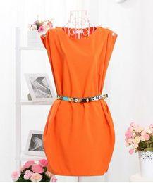 Wholesale Cheap Black Tunics - Fashion women dress cheap casual dress with belt crew neck sleeveless button-shoulder tunic dress mini dress free shipping