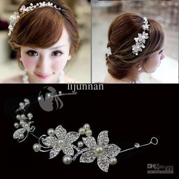best selling Bridal hair accessories headbands Promotion white pearl wedding headdress 1pcs lot wedding flower for hair free shipping T125