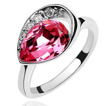Wedding Jewelry Austrian Crystal Ring Make With Swarovski Elements 18k White Gold Plated 3 Colors 358