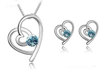 Wholesale Swarovski Elements Bridal Sets - Fashion Accessories For Women Bridal Jewelry Sets Heart-shaped Necklace Stud Earrings make with Swarovski Elements (4-Colors) 2268+2131