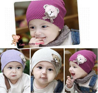 Wholesale Cotton Beanie Wholesale - Free Shipping 2013 Fashion Baby Children Autumn Winter Cartoon Lovely Bear Cotton Warm Caps Baby Girls Boys Hats Beanie