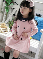 Wholesale Korea Fashion Winter Dress - 2013 Korea fashion baby girls dress cute pink color 3 - 8 years children's princess dress on sale kid's dress B057 free shipping