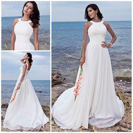 Wholesale Chiffon Summer Bridal Dress - beach wedding dresses Sheath Column Halter Jewel Sweep Chiffon Bridal gowns White Summer Wedding gowns