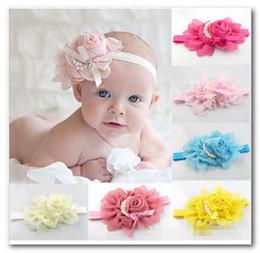 Wholesale Hair Bow Pearl Chiffon - New Cute Kids Child Newborn Baby Girls Chiffon Flower Pearl Elastic Hair Band Hair Bows Hair Rope Hair Accessorie 1040