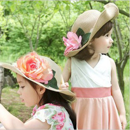 Wholesale Vintage Straw Hats - Elegant Girls Grass Braid Caps Beautiful Big Peony Leaves Straw Hat Attractive Beach Hats Visor Caps 3 Color Vintage For 3-7Y 12pcs lot 8449