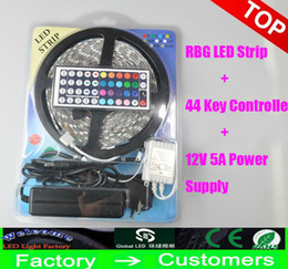 Wholesale Led Christmas Boxes - Led Strip Light RGB 5M 5050 SMD 300Led Waterproof IP65 + 44Key Controller + Power Supply Transformer With Box Christmas Gifts Retail Package