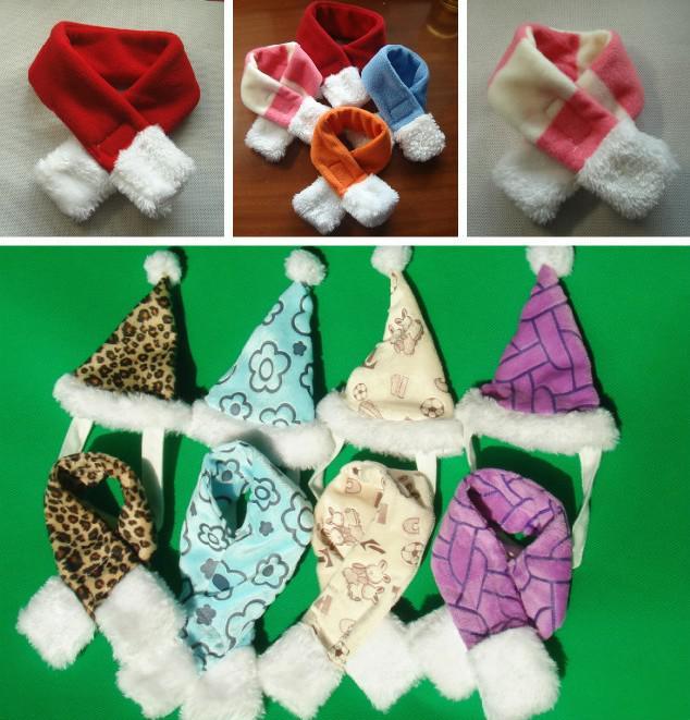 2013 hot plush pet clothes dog plush Hat scarf set multicolor