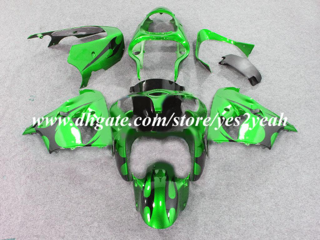 Kuiken Body Kit voor Kawasaki Ninja ZX-9R ZX 9R 98 99 Carrosserie ZX9R 1998 1999 Green Black Backings Set + Gifts