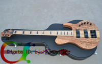 Wholesale One Piece Basses - Custom 5 Strings Bass Guitar HOT SALE 5 strings Electric bass guitar Natural one piece body OEM available High Quality