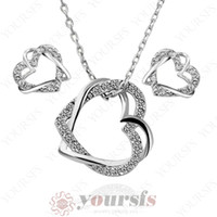 Yoursfs Trendy Schmuck-Set 18K Gold Plated Used Austria Kristall Double Heart Love Anhänger NecklaceEarring Bridal Party Schmuck Sets S115W1