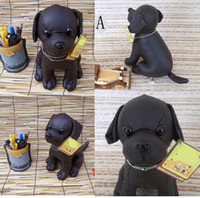 Wholesale Cloth Mouse - Plush PU Leather Black Dog Toy Doll Handmade Stuffed Animal Toy Gifts Height 25 CM Free Shipping