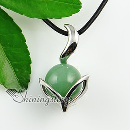 Wholesale Jade Ball Necklace - ball and leaf rose quartz tiger's eye amethyst glass opal jade silver plated natural stone pendants for necklaces Fashion jewellery