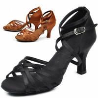 sapatos femininos de dança de salão venda por atacado-Sapatos de dança para mulheres Sapatos de dança latina Ladies Ballroom dance black brown 7 cm calcanhar
