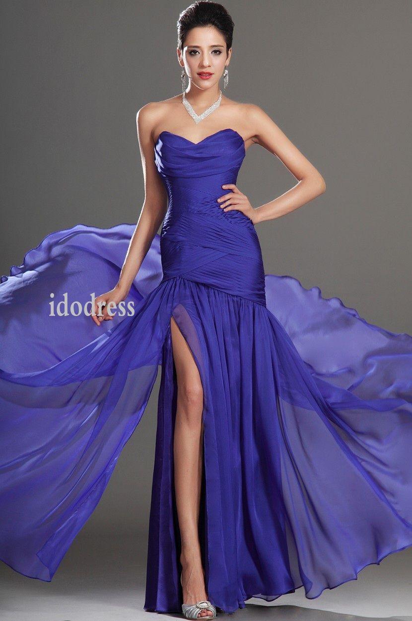 Blue Sweetheart Evening Dresses 2014 Sheath Column Chiffon Side ...