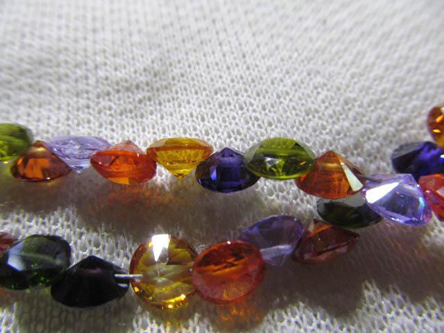 Hoge kwaliteit Cubic Zirconia Gemstone Rondelle Disc Faceted Gemengde Kleur Assortiment Sieraden Kralen Cabochons 7mm /