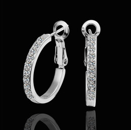 Discount wholesales gold plated jewelry - Top quality plated 18K white gold inlaid rhinestone crystal hoop earrings classic fashion jewelry free shipping 10pair l