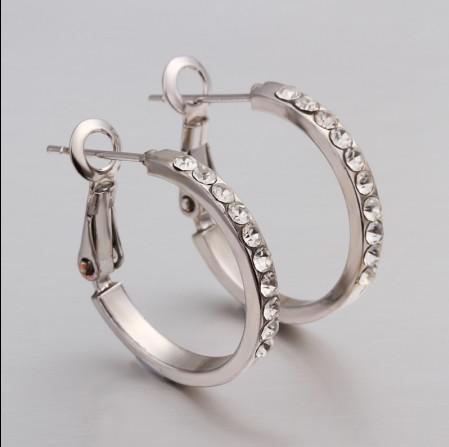 Top qualité plaqué or blanc 18K incrusté strass cristal cerceau boucles d'oreilles bijoux de mode classique livraison gratuite /