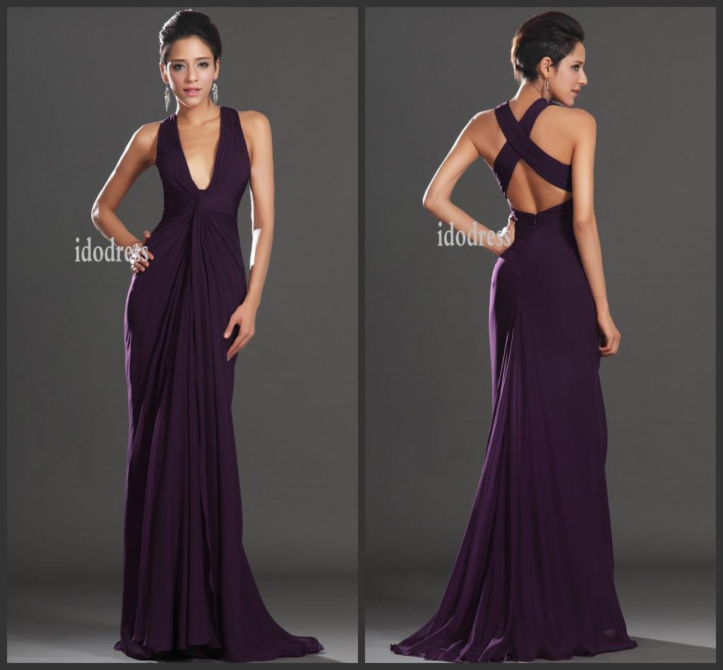 2014 Simple Style Evening Dresses Drand New V-neck Sheath Column ...
