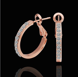 Wholesale Gold Huggie - 2013 new 18K rose gold plated rhinestone crystal hoop earrings fashion jewelry for women free shipping 10pair lot