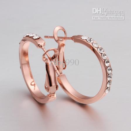 2013 Nieuwe 18K Rose Vergulde Rhinestone Crystal Hoop Oorbellen Mode-sieraden voor Vrouwen Gratis Verzending 10 Paar / partij