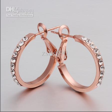 2013 nouveau 18K rose plaqué or strass cristal cerceau boucles d'oreilles bijoux de mode pour les femmes livraison gratuite /