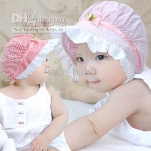 Likable Infant Newborn Baby Caps Flower Stirpe Wide Brim Hats Girly ... 40101bc04dc