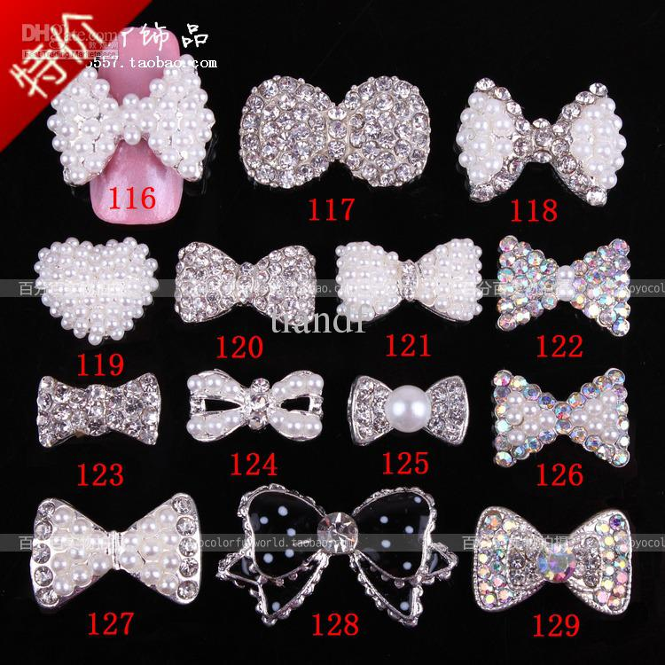 Pearl Bow Nail Art Alloy Accessories Sparkling Diamond Metal Finger Stickers Fake Nails Design Ideas From Tiandf 3482