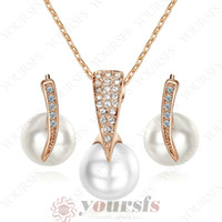 Wholesale jewelry settings use - Yoursfs Noble Fashion Jewelry Set 18 K Rose Gold Plated Used Crystal Shinning Pearl Pendant Necklace&Earring Bridal Party Jewelry Set S275R1