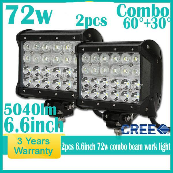 6.5 72W CREE 24 LED*3W Work Light Bar Spot Flood Combo Beam 9 32V 6000lm  Quad Row Off Road SUV ATV 4WD 4x4 Jeep Truck Reflection Cup Vehicle Work  Lights ...