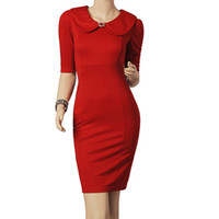 Wholesale Doll Collar Dress Black - New Fashion Celebrity Red&Black 3 4 Sleeve dress Doll Collar Office Ladies Cocktail skirts Women Casual item Zipper back dresses