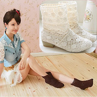 New Summer Knitting Hollow Out Boots femme taille courte taille; 34-39