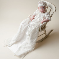 Wholesale Lace Christening Gown For Boys - 2013 New Lovely High Quality Baptism Gown white ivory lace Christening Gowns Dress with Bonnet for Baby Girls and Boys