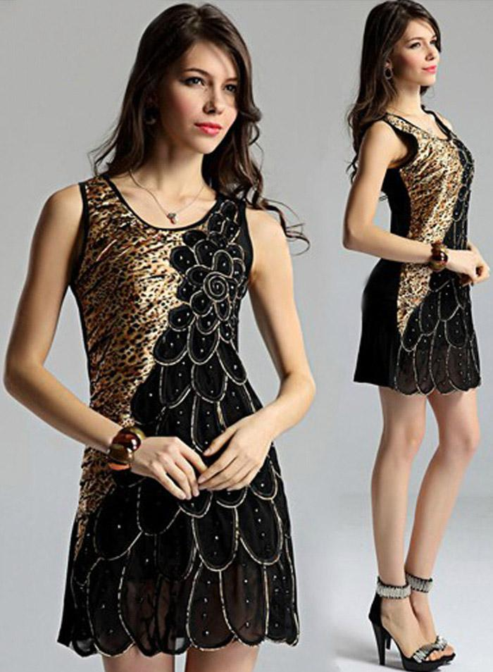 Elegant Women Silk Fabrics Bead Vest Dress Ladies Sexy Western ...