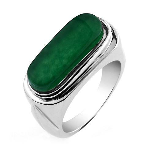 Fantastic Father's Day JPF Emerald Green Rings Men's Rings Men 925 Sterling  QJ71