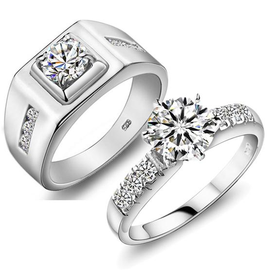 JPF Luxury Wedding Ring 925 Sterling Silver Rings Female Couple