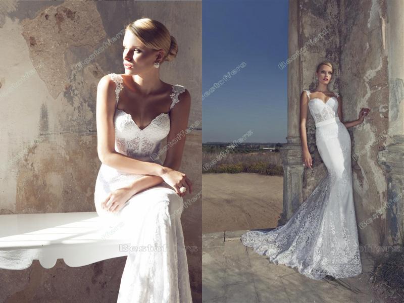 Slim Summer Mermaid Wedding Dresses Lace Straps Sweetheart