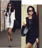 Wholesale Korean Office Wear - Korean women's Fashion Button Office Ladies long sleeve slim short Dresses Size S M L XL