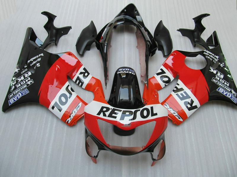 Carene di ricambio Honda CBR F4 1999 2000, CBR600 F4 99 00 Sliver Kit di allestimento nero