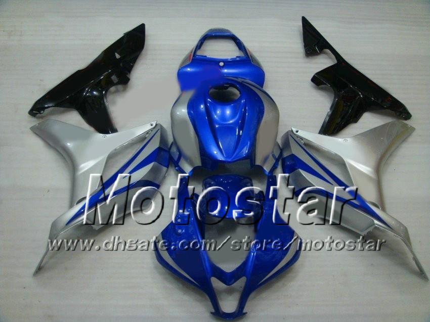7Gifts Fairing Bodywork Molding Fairings para Honda CBR600RR F5 2007 2008 CBR 600 RR 07 08 Glossy Blue Silver Farming Kit AF14
