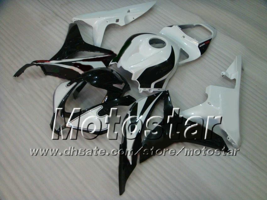 7 Carretos de carenagem de moldagem por injeção de Inches para HONDA CBR600RR F5 2007 2008 CBR 600 RR 07 08 Carretel de cor preta de customização em branco brilhante kit af18