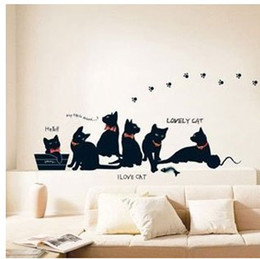 Wholesale I Love Wall Stickers - Black Cats Wall Sticker Six Black Cats Home Decor I Love Cat Kids Room Nursery Wall Paper 33x60cm Free Shipping