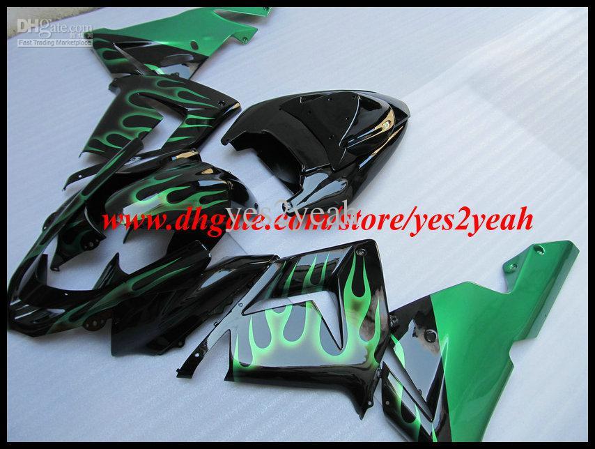 Зеленый огонь черный обтекатель обтекатель для KAWASAKI Ninja ZX10R 04 05 ZX 10R 2004 2005 ZX-10R Обтекатель кузова + подарки