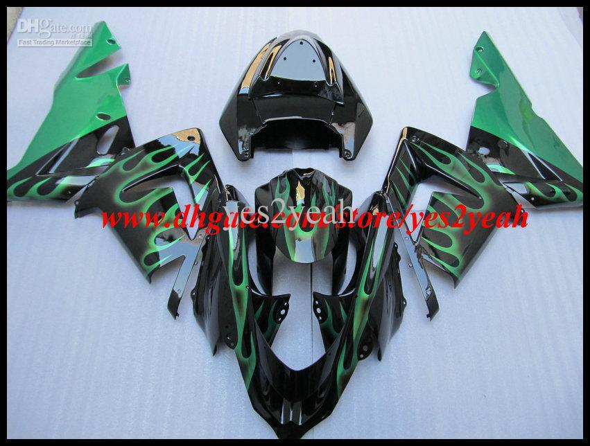 Groene vlammen Black Fairing Body Kit voor Kawasaki Ninja ZX10R 04 05 ZX 10R 2004 2005 ZX-10R Valerijen Carrosserie + Geschenken